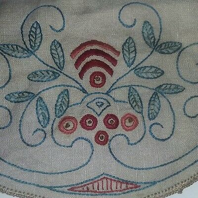 Antique Arts Crafts Mission Bungalow Embroidered Linen Purse