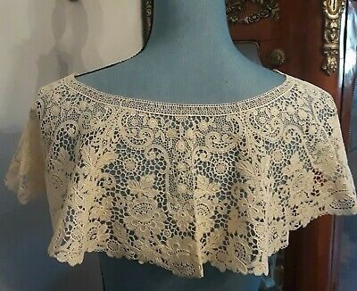 Antique 19th Century Victorian Wedding ROSE POINT NEEDLE LACE Bertha Collar