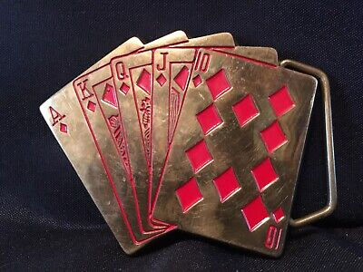 Vintage Playing Cards Ace Diamonds ROYAL FLUSH Baron SOLID BRASS Belt Buckle