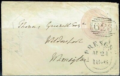 GREAT BRITAIN QV.1846 STATIONERY 1d.ENVELOPE NUMERAL #626.PRESCOT AS IS SEE SCAN