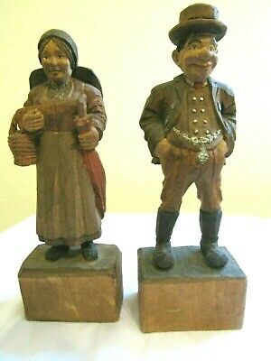 Pair of Vintage Hand-Carved Painted Wooden Man+Woman Figures- Folk Art - 7""
