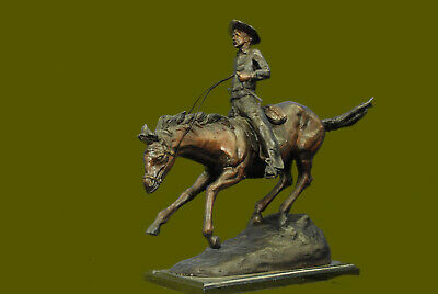"""Arizona Cowboy"" On Horse Large Frederic Remington Bronze Sculpture Signed Sale"