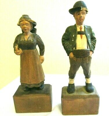 Pair of Vintage Hand-Carved Painted Wooden Man+Woman Figures-Folk Art -AS IS