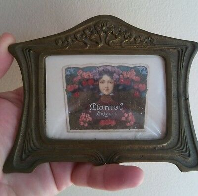 Rare Antique Art Nouveau Miniature Painting Lovely Young Girl Advertising