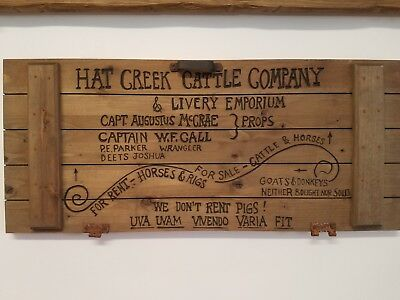 "Lonesome Dove Sign / Hat Creek Cattle Co. Sign  24"" X 10.5"" Western Decor"