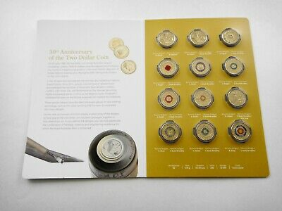 2018 30Th Anniversary Of The $2 Dollar Coin Folder Set Of 12 Coloured Coins #