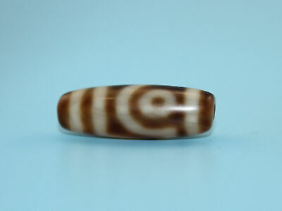 30*10 mm Antique Dzi Agate old 2 eyes Bead from Tibet **Free shipping**