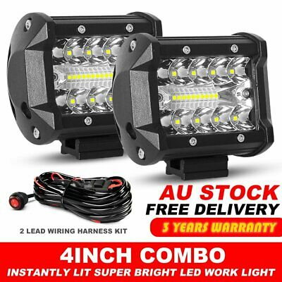 """Pair 4"""" inch Work Lights CREE Spot Flood Combo LED Light Bar Reverse 4WD + Wire"""