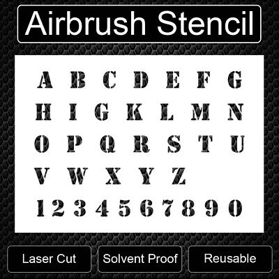 Army Style Alphabet & Numbers Reusable Airbrush Stencil Template 11x8.5 Freeship