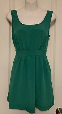 cd09fdf5b8d8 FOREVER 21 Kelly Green Ruched Sleeveless Short Tie Fit Flare Dress Size  SMALL S