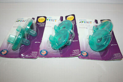 SEALED Phillips Avent Soothie Pacifier, 0-3 months, Green, 6Ct