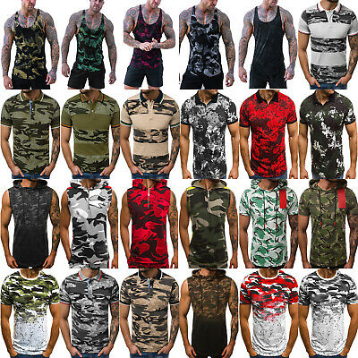 Mens Camo Tank Summer Military Tops Gym Fitness Sports T-Shirt Vest Blouse Tee