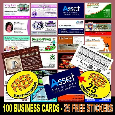 100 Business Cards  50 Free Stickers. Quality White Card Free Double Sided Print