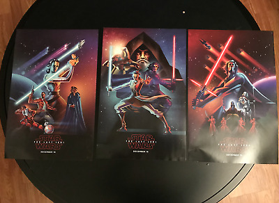 RARE 3x Star Wars The Last Jedi Poster Set - Rey Kylo Ren Jedi Digital Art