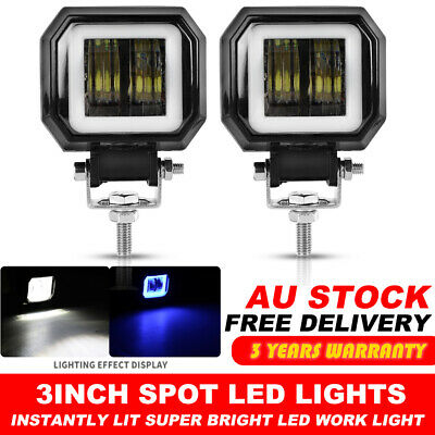 2X 3inch Cree LED Spot Square Work Lights Driving Pods Offroad Motorcycle Atv