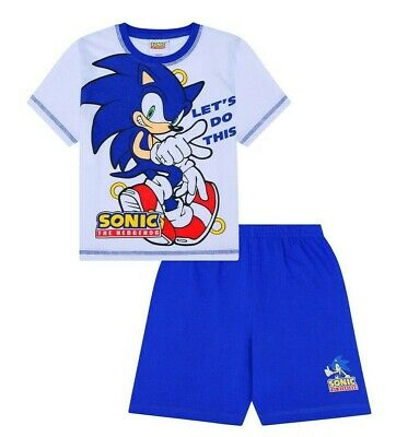 Sonic The Hedgehog Let's Do This Short Gamer Cotton  PJs Boy's  White Pyjamas