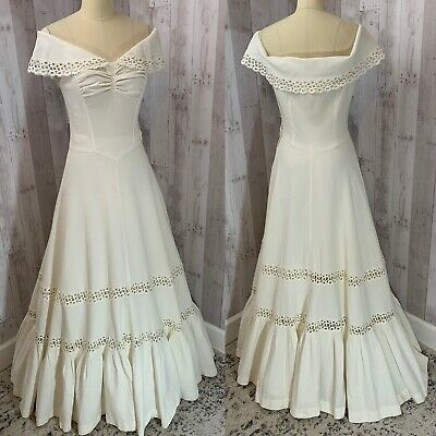 1940s Vintage Gown~White Cotton Pique Dress w/Lace Wedding 1930s Off Shoulder S