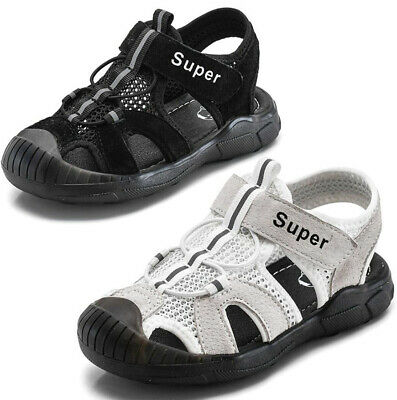 Kids Boys Girls Closed Toe Leather Sports Sandals Beach Walking Trainers Shoes