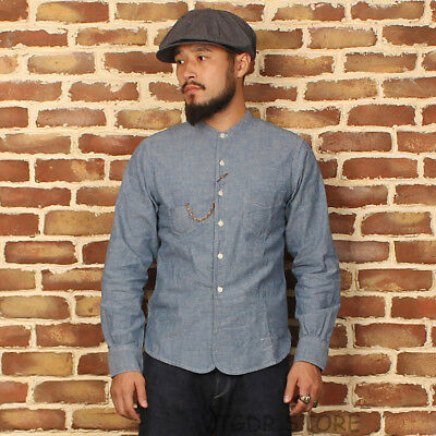 Bronson 1900s Henley Work Shirts Vintage Men's Chambray Long Sleeves Work shirt