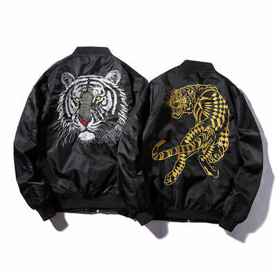 New Bomber Mens Jackets Embroidery Golden&white tiger flight Jacket Coats