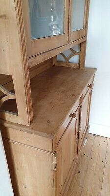 Antique Welsh Dresser. Two Drawers, Glass Doors