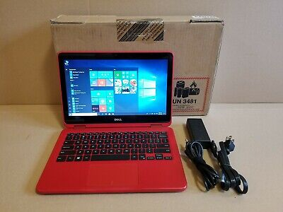 """Dell Inspiron i3185 Red 11.6"""" HD 2-in-1 Laptop, AMD A6-9220e, 4GB RAM, 32GB eMMC"""