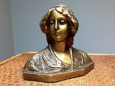 Victorian Bronze Bust of Woman Gypsy Finely Detailed