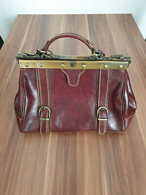 "Vintage Leder Handtasche ""Arzttaschen-Look"" in Bordeauxrot, Made in Italy"