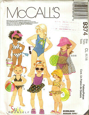 d5ccf8799f1 GIRLS McCALLS Pattern 9374 BATHING SUIT SWIM SUIT TWO PIECE SARONG COVER UP  6-8
