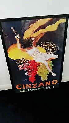 Large Framed Alcohol  Advertisin Print Poster Cinzano