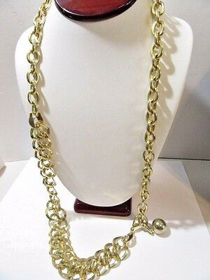 Curb And Link Style Gold Tone Plated Metal Partially Double Strand Belt Necklace