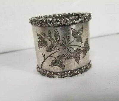 Victorian Silverplated Napkin Ring with Engraved Bird on Branch Silver