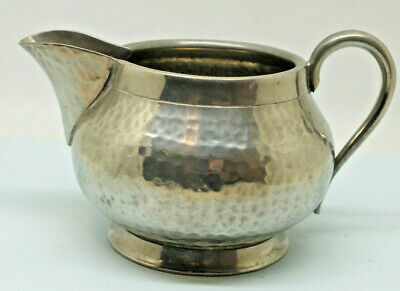Pewter miik jug Whittakers Oldham England  Hammered finish Arts & Crafts