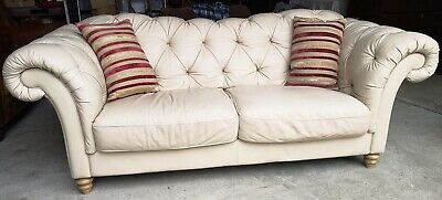 Top Quality Cream Leather Natuzzi 3/4 Seater Chesterfield Sofa