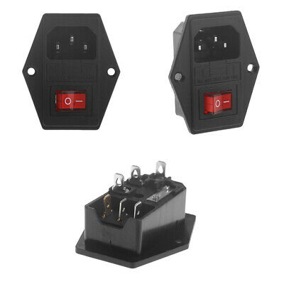 Black 10A 250V 3 Pin IEC320 C14 AC Inlet Male Plug Power Socket With Fuse Switch