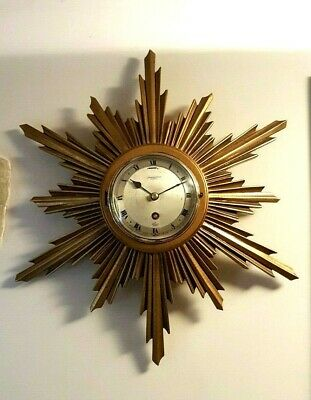 1960s sunburst wall clock by Elliott - retail Jewellers Frederick Thorn