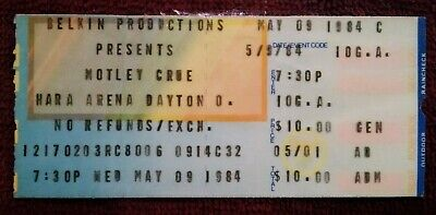 1984 Motley Crue Shout At The Devil Ticket Stub Laminated