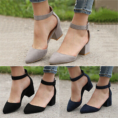 Womens Ladies Block Heels Ankle Strap Sandals Pointed Toe Work Prom Shoes Sizes