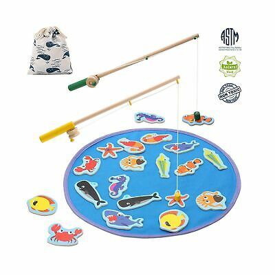TEPSMIGO Magnetic Wooden Fishing Pole Game for Kids, Educational Go Fish Gami...