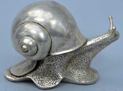 Collectable Tibet Miao Silver Carve Snail Carrying Heavy Shell Royal Rare Statue
