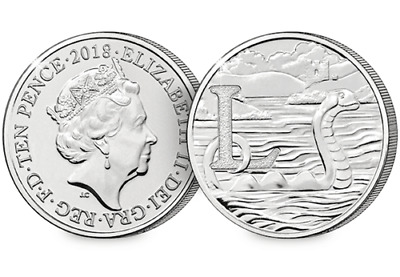 UNCIRCULATED 10p TEN PENCE COIN LETTER L LOCH NESS MONSTER ROYAL MINT COIN 2018