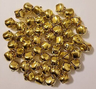 Lot Of 50 Oro Brillante Metal Cascabeles para Navidad Manualidades 20mm