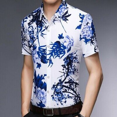 Men Summer T-shirts Short Sleeve Slim Fit Chinese Style Printing Casual Blouses