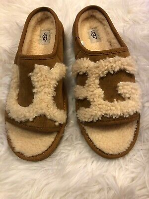 04230207225 UGG SLIDE CHESTNUT Natural UGG Logo Slipper Size US 11, EU 42 NIB ...
