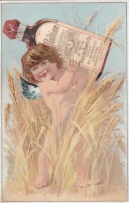 Vintage Victorian Antique Trade Card Cherub Maltine & Co Fantasy.*