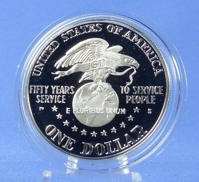 pièce proof BE argent USA 1$ dollar LIBERTY 1991 USO 50th anniversary p2€