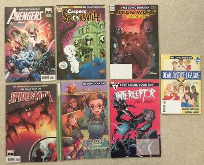 FCBD FREE COMIC BOOK DAY 2019 (7) Book LOT Unstamped Spider-Man Avengers