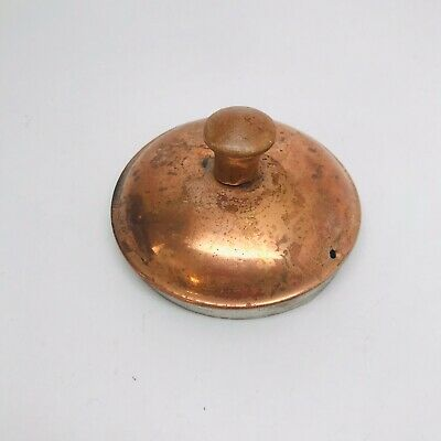 "Small Vintage Copper Pot Lid with Wood Knob 3 1/4"" in diameter"