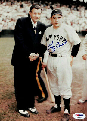 YOGI BERRA WITH BABE RUTH  ( N Y YANKEES )  -   5x7  SIGNED  PHOTO REPRINT