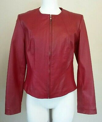 Newport News Womens Red Genuine Leather Zip Front Jacket Size 6